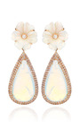 18 K Pink Gold And White Opal Flower Earrings by NINA RUNSDORF for Preorder on Moda Operandi