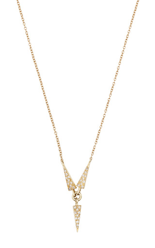 Medium eva fehren gold 18k yellow gold propeller necklace with pale champagne diamonds