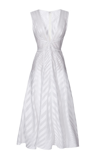 Medium j mendel off white silk organza a line dress