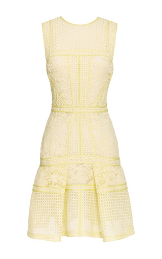 Medium j mendel yellow paneled lace dress