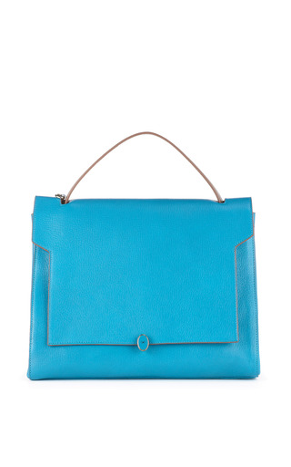 Medium anya hindmarch dark grey bathurst deconstructed satchel in london blue capra