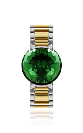Medium delfina delettrez green timeless bracelet in green quartz