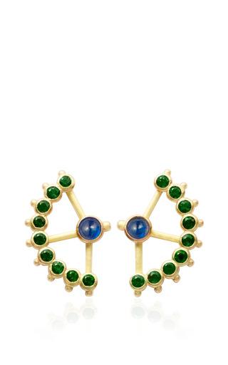 Medium aimee aimer green blue sapphire and emerald beija flor earrings