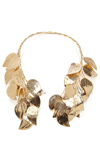 Medium esme vie gold esme vie birch leaves gold necklace