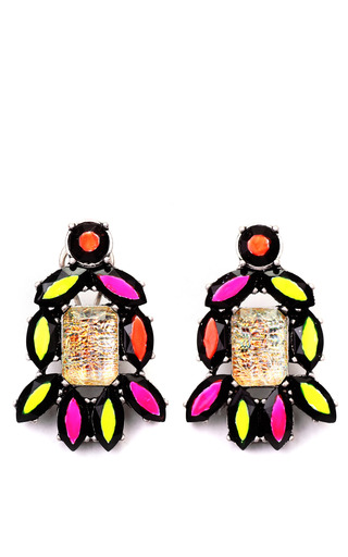 Medium lulu frost pink hand painted revolution stud in yellow and orange