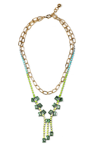Medium lulu frost blue hand painted duchess necklace in green