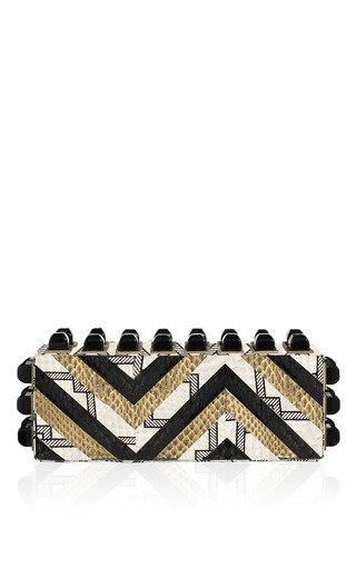 Medium tonya hawkes white biba resin studded snakeskin clutch
