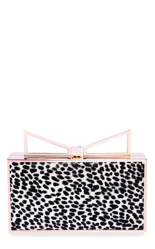 Medium sara battaglia black lady me printed haircalf clutch