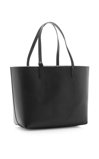 Large Black Leather Tote With Silver Interior by MANSUR GAVRIEL Now Available on Moda Operandi