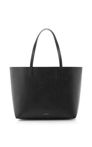 Medium mansur gavriel black large tote coated interior with silver interior