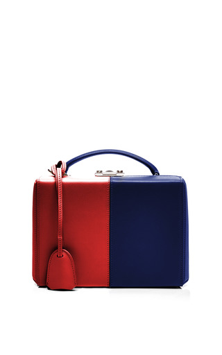 Medium mark cross red mo exclusive small grace trunk in two tone red and blue leather