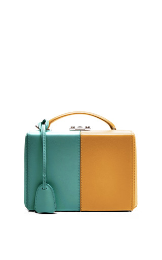 Medium mark cross brown mo exclusive small grace trunk two tone in marigold and turquoise calf leather