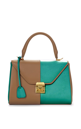 Medium mark cross brown mo exclusive small scottie in two tone nude and turquoise calf leather