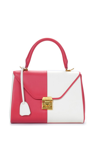 Medium mark cross pink mo exclusive small scottie in two tone rose and white calf leather