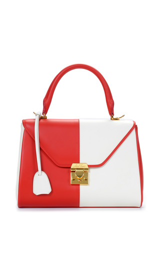 Medium mark cross red mo exclusive small scottie in two tone red and white calf leather