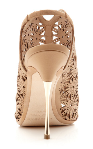 Beige Lasercut Platino Sandal by NICHOLAS KIRKWOOD Now Available on Moda Operandi