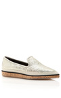 Gold White Weave Raffia And Cork Loafer by NICHOLAS KIRKWOOD Now Available on Moda Operandi