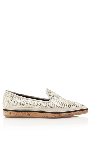 Medium nicholas kirkwood white gold white weave raffia and cork loafer