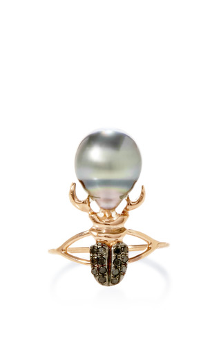 Medium daniela villegas black khepri south sea pearl and black diamond ring