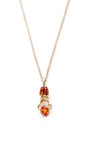 Khepri 18 K Pink Gold, Garnet, And Sapphire Pendant Necklace by DANIELA VILLEGAS Now Available on Moda Operandi