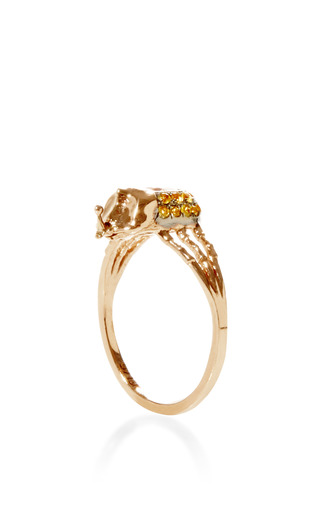 Atum 18 K Pink Gold And Sapphire Phalanx Ring by DANIELA VILLEGAS Now Available on Moda Operandi