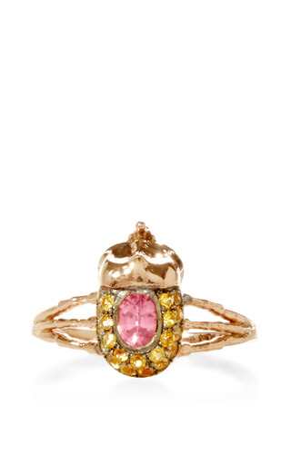 Medium daniela villegas yellow atum 18k pink gold and sapphire ring