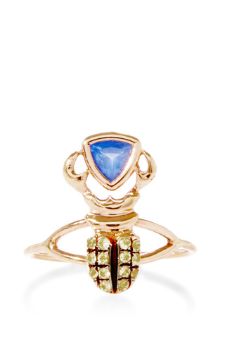 Medium daniela villegas multi khepri 18k gold and sapphire ring