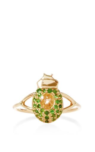 Ma'at 18 K Pink Gold, Tsavorite, And Sapphire Phalanx Ring by DANIELA VILLEGAS Now Available on Moda Operandi