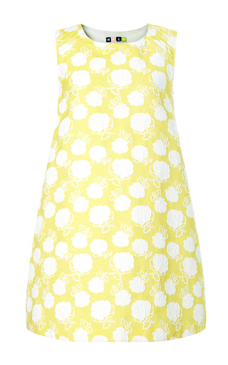 Medium msgm yellow rose jacquard trapeze dress