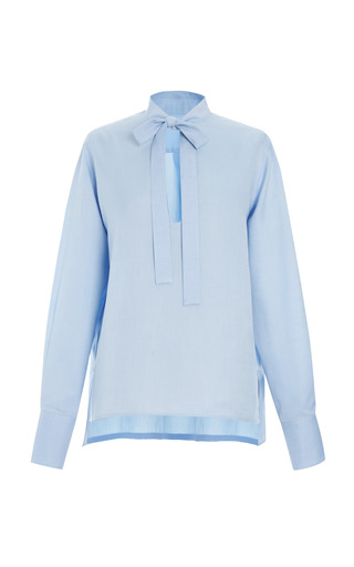 Medium valentino blue cotton long sleeve blouse with front tie 4