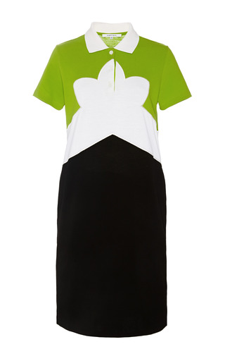 Medium carven green color block pique shirtdress