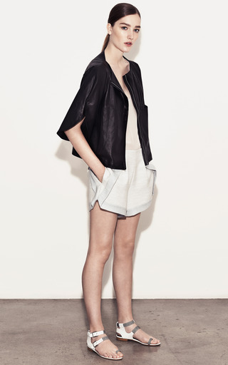 Lambskin Rounded Shoulder Jacket by THAKOON ADDITION Now Available on Moda Operandi