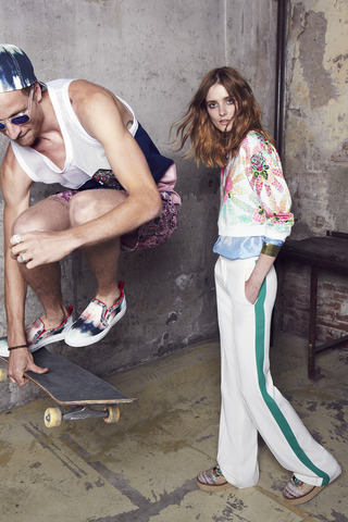 Cropped Floral Explosion Sweatshirt by MSGM Now Available on Moda Operandi