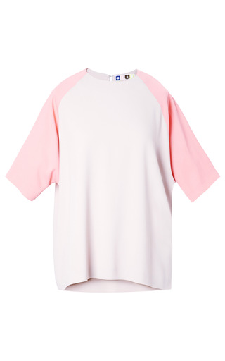 Medium msgm pink viscose crepe bicolor t shirt