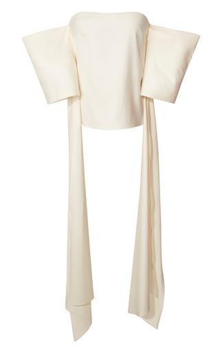 Medium rosie assoulin white strapless silk twill shawl top