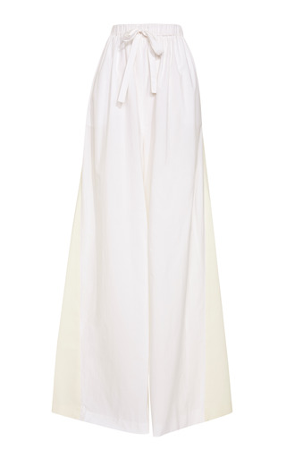 Medium rosie assoulin white fine cotton combo drawstring pants