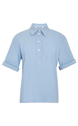 Medium rosie assoulin blue textured stretch pique tennis shirt