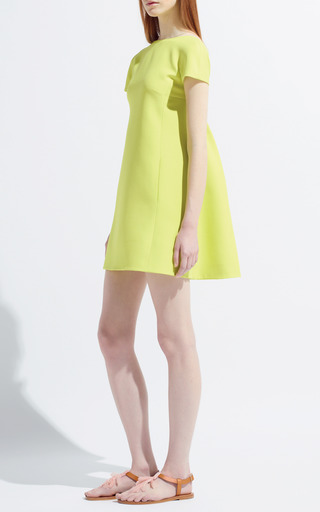 Citron Crepe Couture Dress by VALENTINO Now Available on Moda Operandi