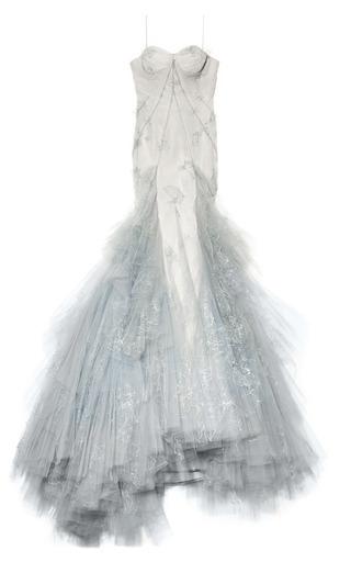 Medium zac posen dark grey hand painted tulle strapless ruffle skirt gown 2