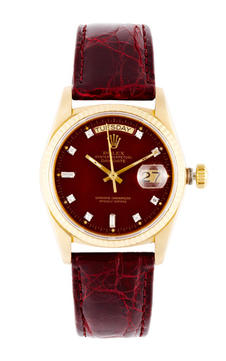 Medium vintage rolex watches red vintage rolex 18k yellow gold day date with rare oxblood stella diamond dial