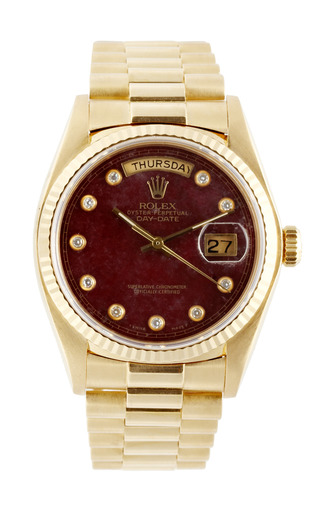 Medium vintage rolex watches red vintage rolex 18k yellow gold day date president with grossular diamond dial