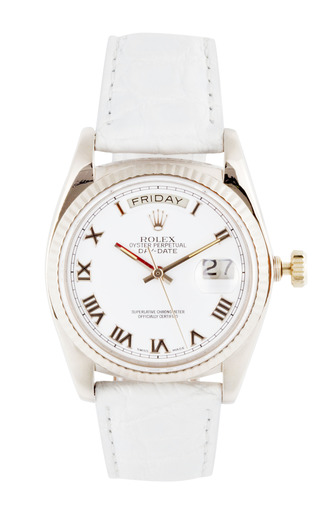 Medium vintage rolex watches white vintage rolex 18k white gold day date with white roman numeral dial