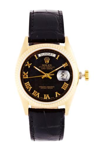 Medium vintage rolex watches black vintage rolex 18k yellow gold day date with black roman pyramid dial