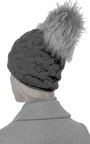 Cashmere Beanie With Silver Fox Pom by INVERNI Now Available on Moda Operandi