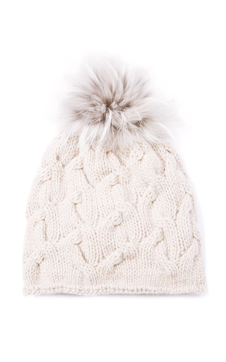 Medium inverni brown cashmere beanie with silver fox pom 2