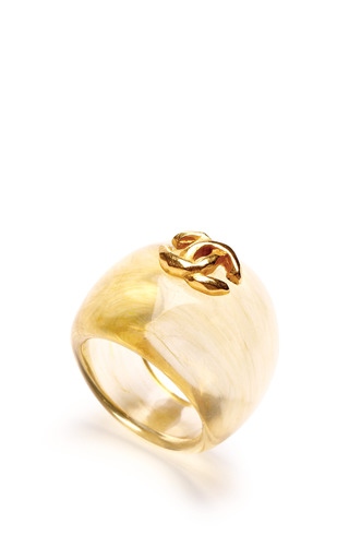 Vintage Chanel Transparent Beige With Cc Ring by CAROLE TANENBAUM for Preorder on Moda Operandi
