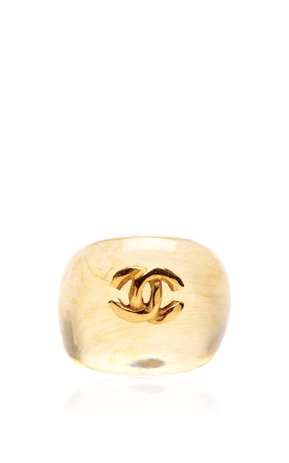Medium carole tanenbaum gold vintage chanel transparent beige with cc ring