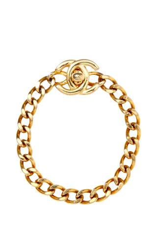 Medium carole tanenbaum gold vintage chanel cc turn key bracelet