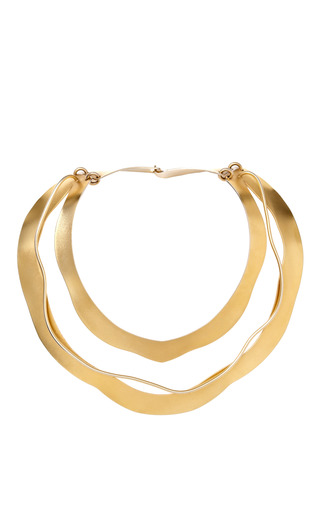 Medium carole tanenbaum gold vintage jacques le corre gold three layer necklace