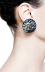 Vintage Chanel Black Quilted Cc Earrings by CAROLE TANENBAUM for Preorder on Moda Operandi